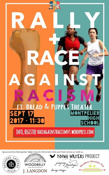 Poster for Rally and Race Against Racism showing a raised fist on the left and two women, one Black and one white, running on the right.