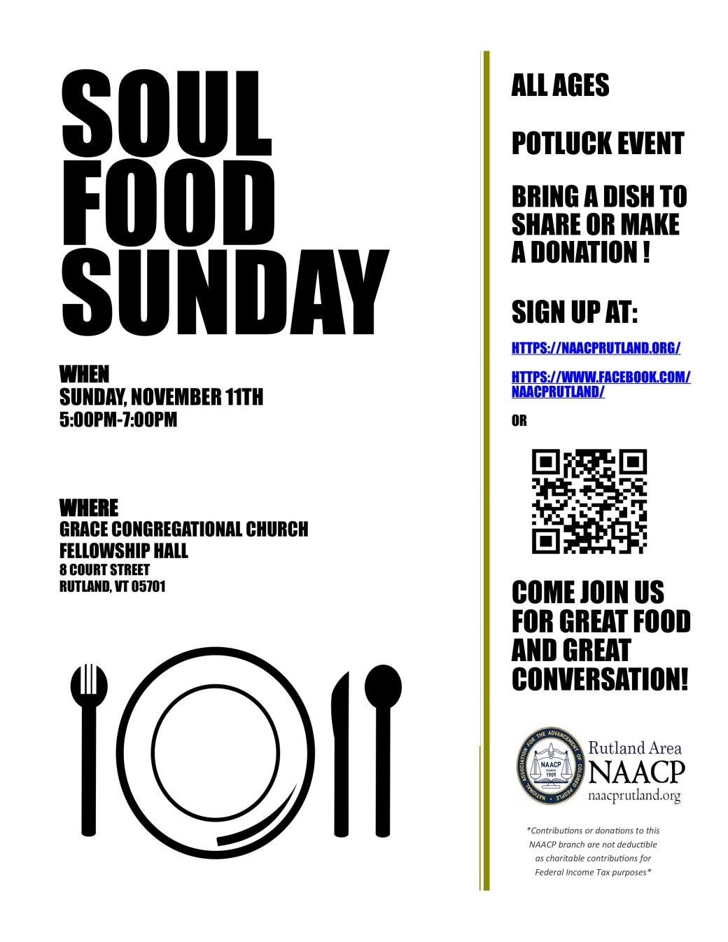 Poster for Soul Food Sunday, black and white with a clip-art picture of a place with silverware.