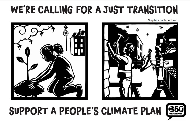 """The front of one postcard, showing block print images of a Black girl planting a tree and several people working in a town, with the text """"We're calling for a just transition. Support a people's climate plan."""""""
